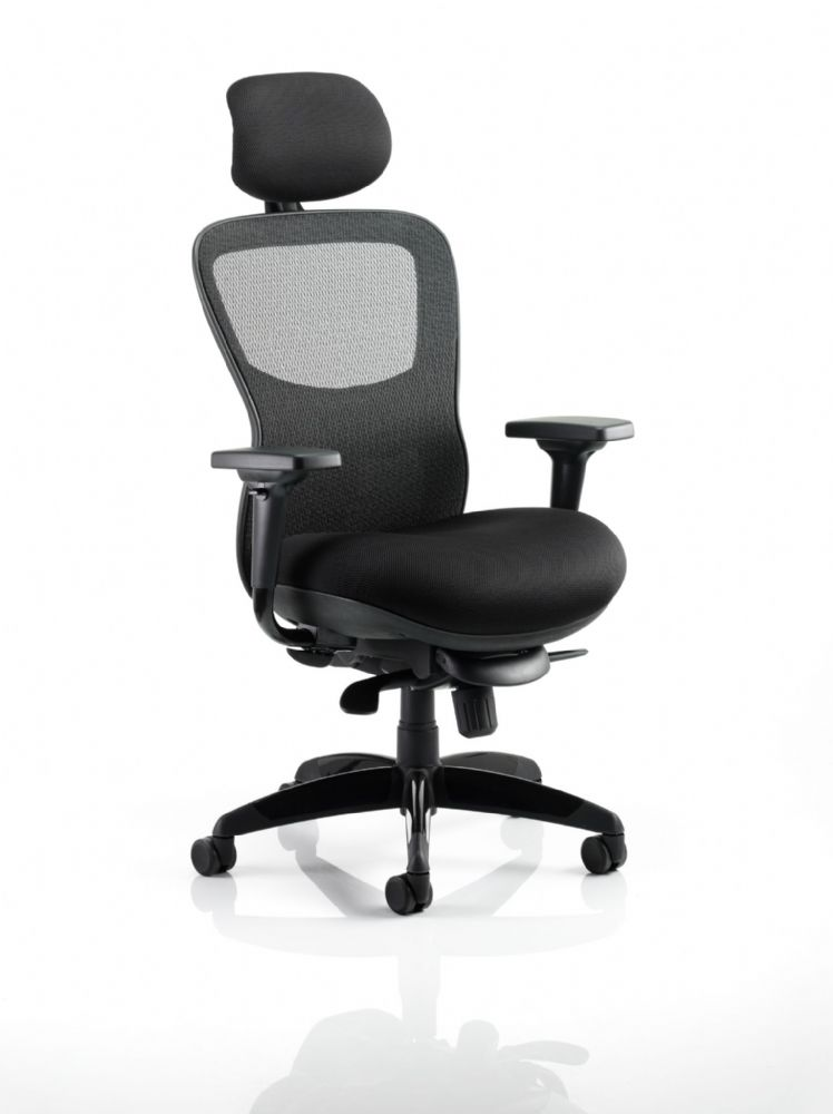 Stealth Ergonomic Posture Chair Black Airmesh Seat Mesh Backrest Upholstered Seat Arms Headrest